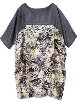 手織りシルク・フォレストモチーフ・ドレス