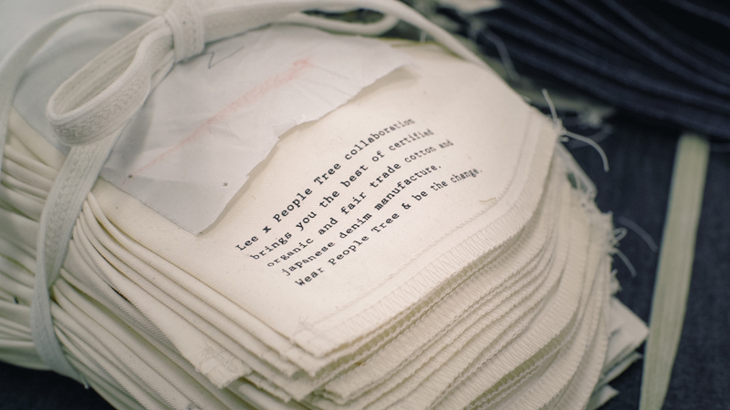 ポケットとなる生地に書かれたメッセージ。