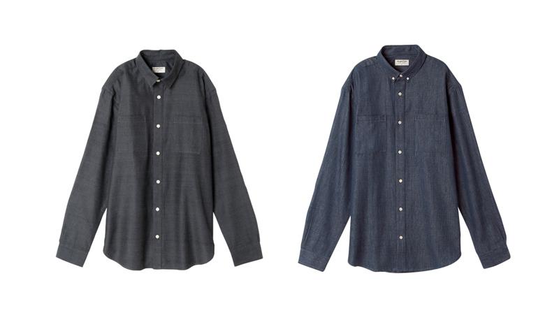 メンズ・手織りコットンシャンブレーシャツ