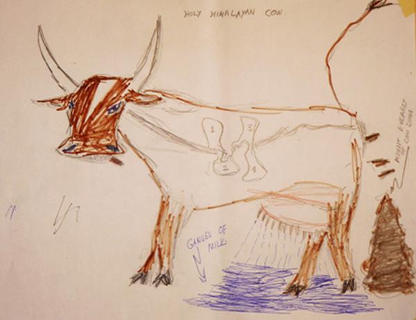 「牛は、バイオダイナミックを象徴する生き物」とバイオダイナミックの概念を語りながらバナジー氏が描いた絵。(2014年、来日の時)